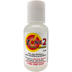 Zone 2 is a topical anesthetic for use during a pain sensitive procedure. Manufactured by Dermal Source.